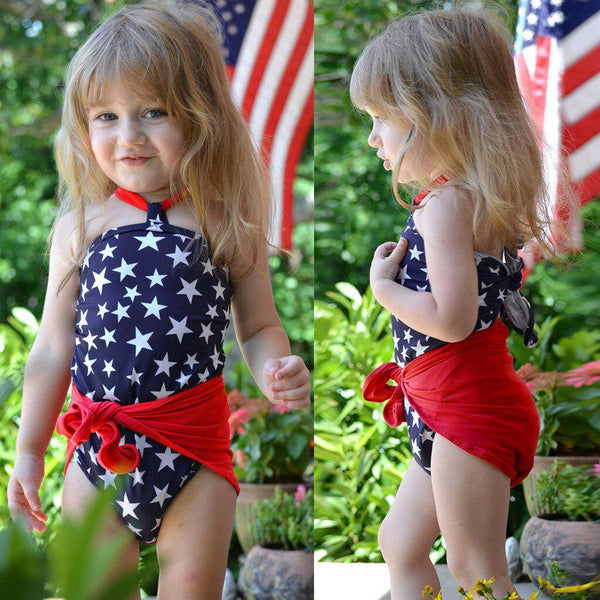 Kids' - Toddler Baby Girls 4th Of July Star Wrap Swimsuit-Cheapnotic