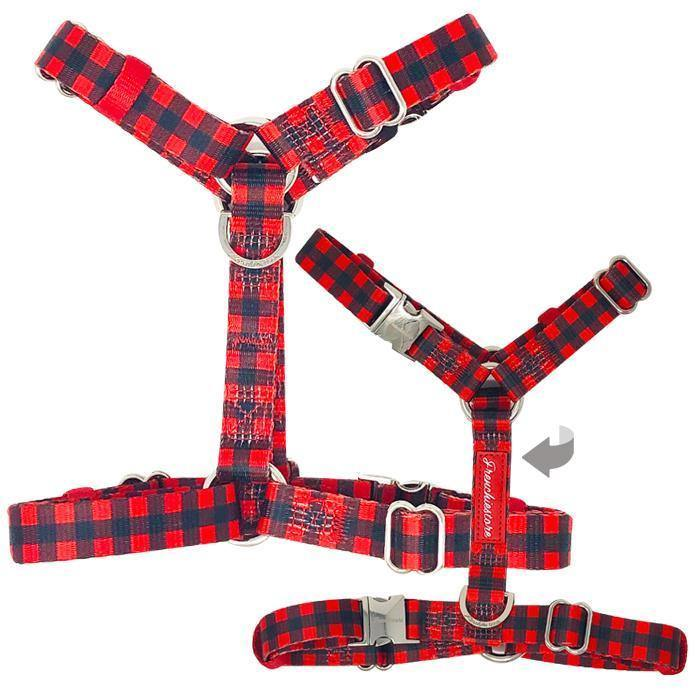 Pets - Frenchiestore Adjustable Pet Health Harness | Red Buffalo Plaid