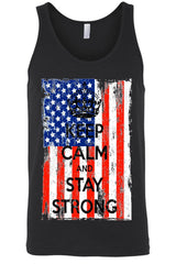 Unisex - USA Flag Keep Calm & Stay Strong Tank Top-Cheapnotic