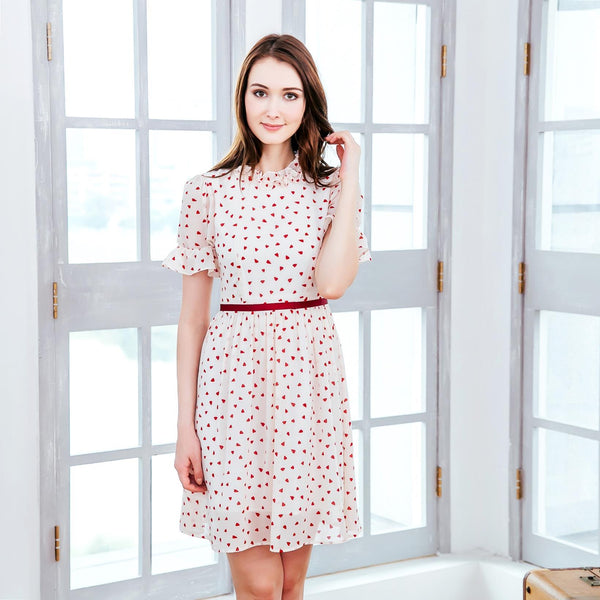 Women's -  Ruffled heart-shaped polka dot dress