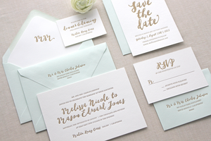 Malibu Letterpress Wedding Invitation