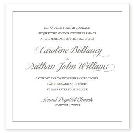 CARLYLE LETTERPRESS INVITATION SAMPLE