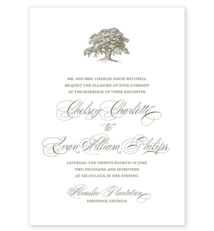 OAK LETTERPRESS INVITATION