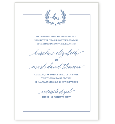 JARDIN LETTERPRESS INVITATION SAMPLE