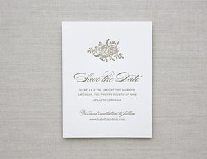 Bouquet Letterpress Wedding Invitation