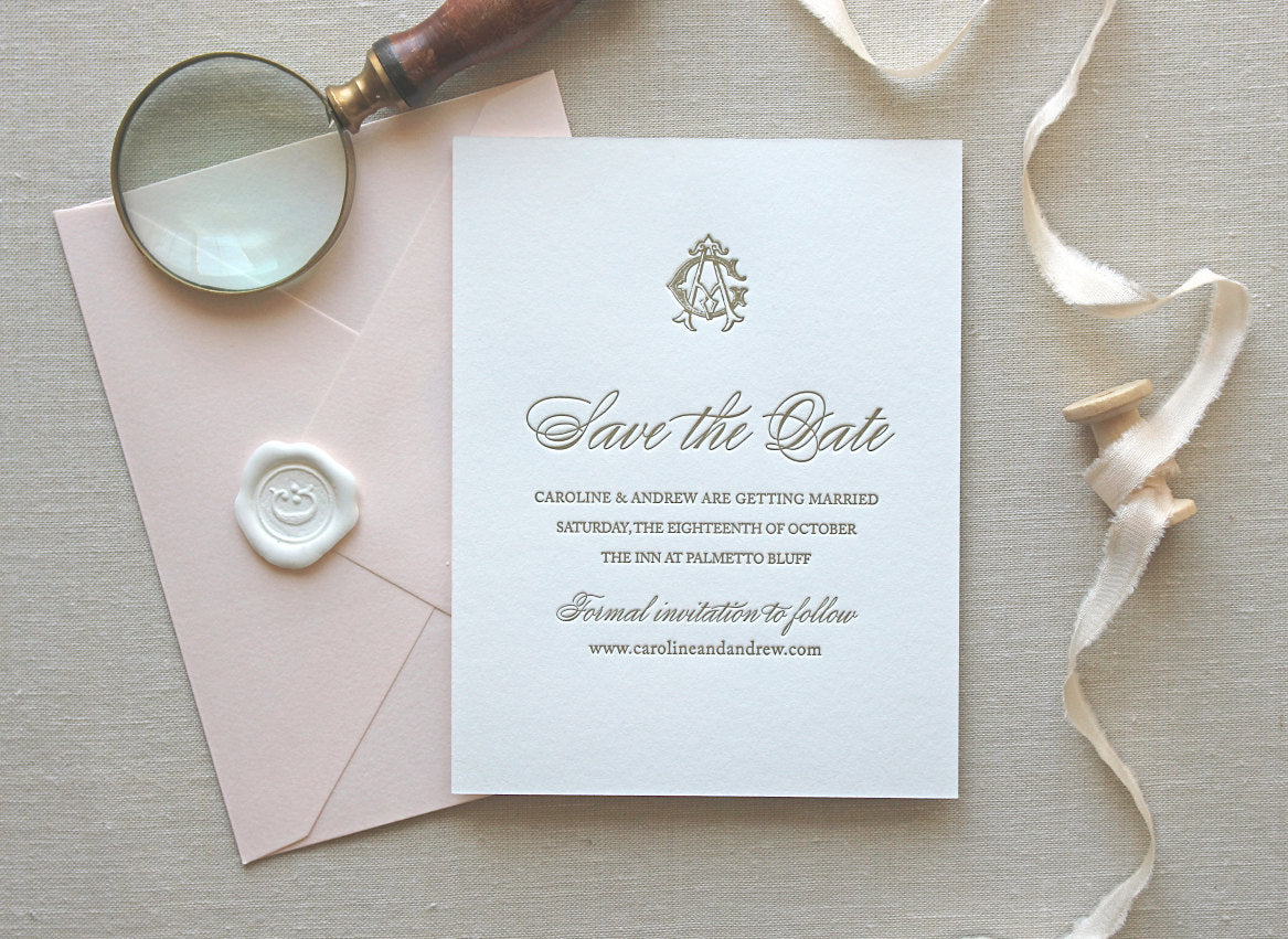 Very CHARLESTON: Save the Date - CHATHAM & CARON | Letterpress Wedding  CQ24