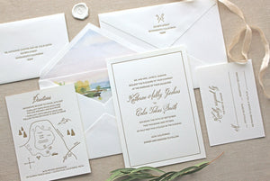 Savannah Letterpress Wedding Invitation