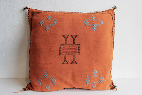 Gorgeous One-Of-A-Kind Orange Moroccan Berber Pillow Handmade