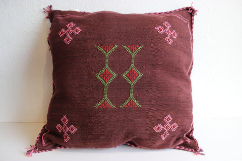 One-Of-A-Kind Burgundy  Moroccan Berber Pillow Handmade