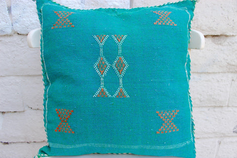 Gorgeous One-Of-A-Kind Green Moroccan Berber Pillow Handmade