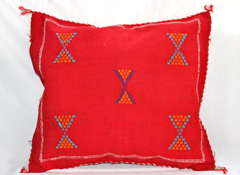 Gorgeous One-Of-A-Kind Red Moroccan Berber Pillow Handmade