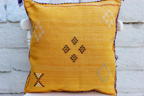 Gorgeous One-Of-A-Kind Ultra Marine Blue Moroccan Berber Sabra Pillow Handmade with White and Pink Motifs