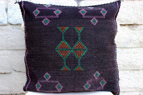 Gorgeous One-Of-A-Kind Black Moroccan Berber Sabra Pillow Handmade with Orange, Green and Pink Motifs