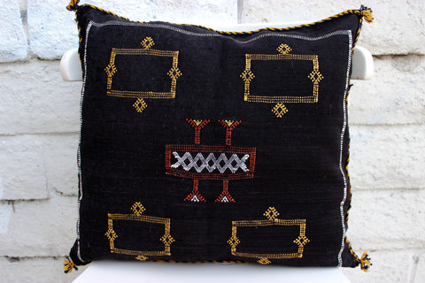 Gorgeous One-Of-A-Kind Dark Black Moroccan Berber Sabra Pillow Handmade with White, Brown and Yellow Motifs