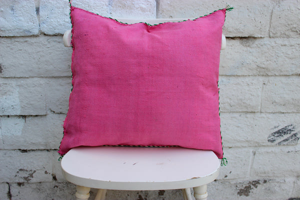Gorgeous One-Of-A-Kind Hot Pink Moroccan Berber Sabra Pillow Handmade with White, Green and Yellow Motifs