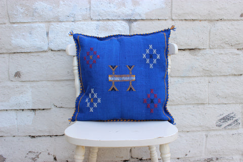 Gorgeous One-Of-A-Kind Ultra Marine Blue Moroccan Berber Sabra Pillow Handmade with White, Yellow and Red Motifs