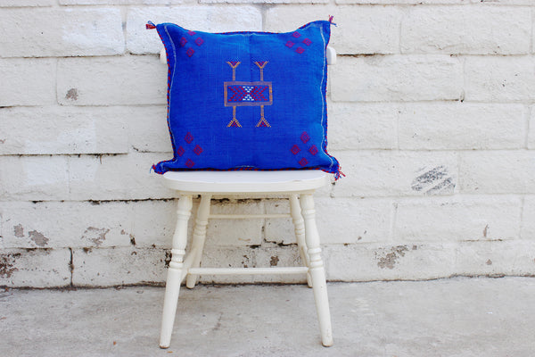 Gorgeous One-Of-A-Kind Ultra Marine Blue Moroccan Berber Sabra Pillow Handmade with Yellow, Black, White and Red Motifs
