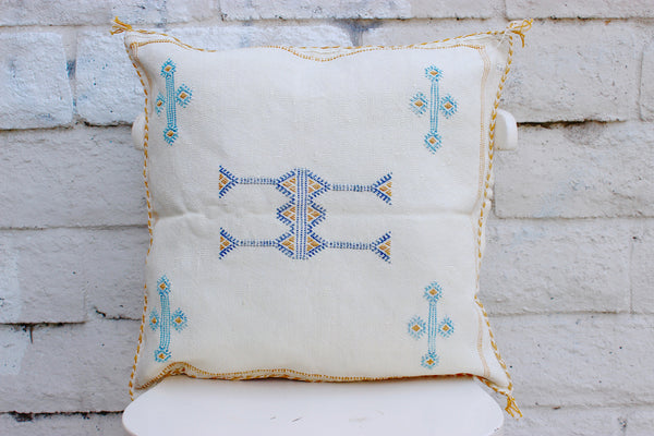 Gorgeous One-Of-A-Kind Ivory Moroccan Berber Pillow Handmade