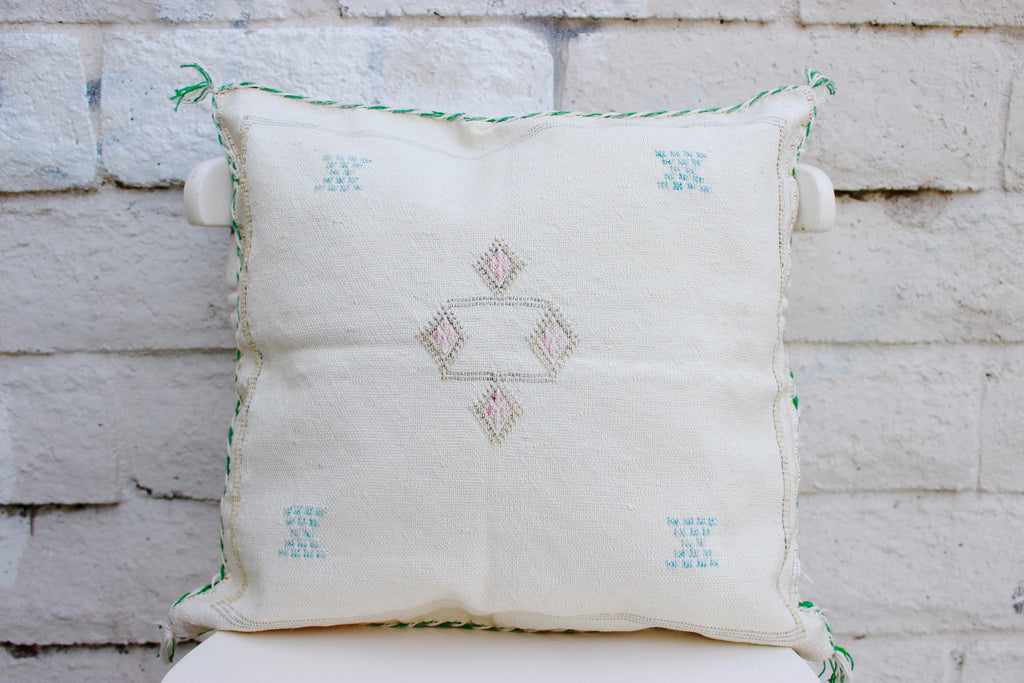 Gorgeous One-Of-A-Kind Ivory Moroccan Berber Pillow Handmade with Turquoise, pink and brown motifs