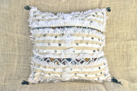 Gorgeous Ethnic Chic Handira Wedding blanket berber pillow - double sided