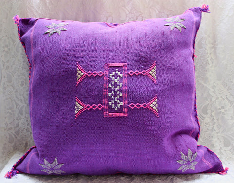 Gorgeous One-Of-A-Kind Purple Moroccan Berber Pillow Handmade