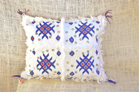 Gorgeous One-Of-A-Kind White & Blue Moroccan Berber Handmade Pillow with fringes and sequin