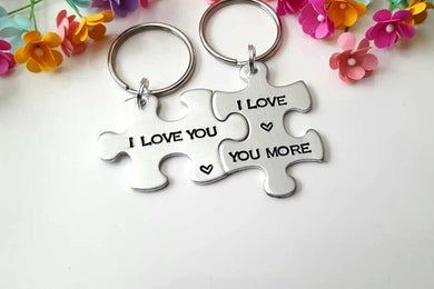 I Love You, I Love you More Puzzle Piece Keychain Set