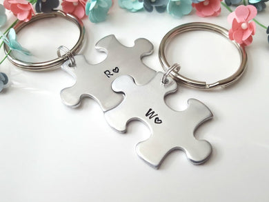 Puzzle Piece Keychain Set with Two Initials