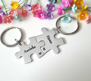 Personalized Name Puzzle Piece Keychains