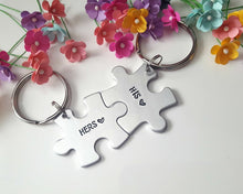 Load image into Gallery viewer, His and Hers Puzzle Piece Keychain Set