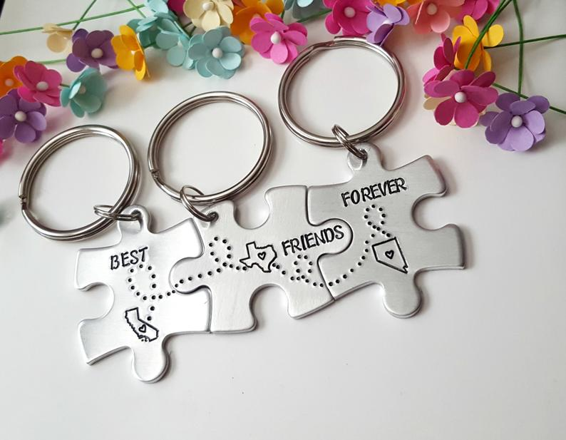 Best Friends Forever, Puzzle Piece Keychain Set