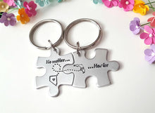 Load image into Gallery viewer, How Matter How Far, Personalized Puzzle Keychains