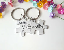 Load image into Gallery viewer, Player 1 Player 2, Puzzle Piece Keychain Set