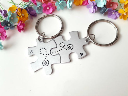 Personalized Puzzle Piece Keychain Set w/ Intials