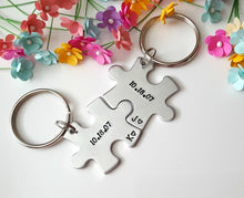 Load image into Gallery viewer, Anniversary Date with Initials Puzzle Piece Keychain Set