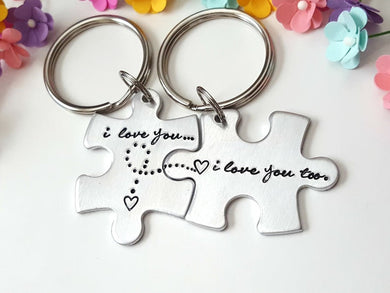 I love you Puzzle Piece Keychain Set