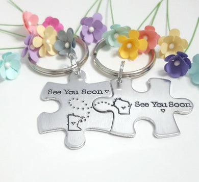See You Soon Puzzle Piece Keychain Set