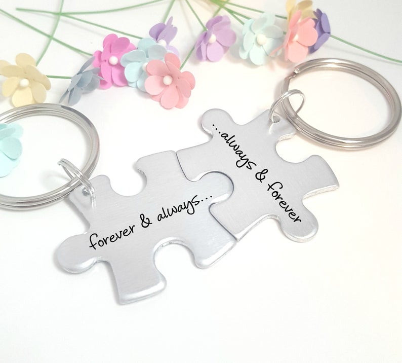 Forever and Always Puzzle Piece Keychain Set