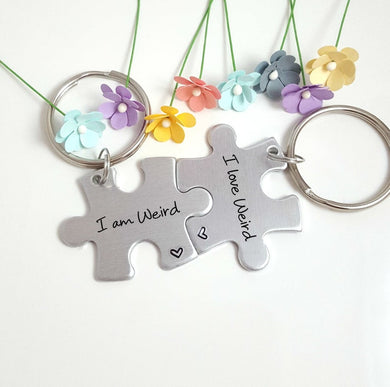 I am Weird, I love Weird Puzzle Piece Keychain Set