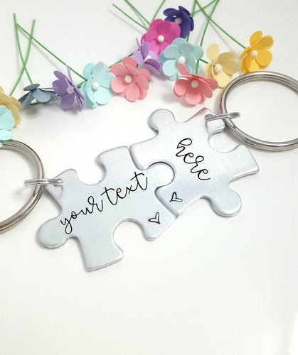 Personalized Puzzle Piece Keychain Set