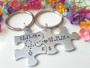 Anniversary Date Puzzle Keychain Set