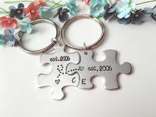 Load image into Gallery viewer, Anniversary Date Puzzle Piece Keychains