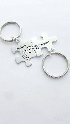 Mother Daughter Puzzle Piece Keychains