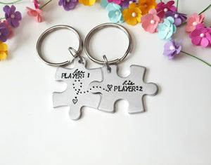 Player 1 Player 2, Puzzle Piece Keychain Set