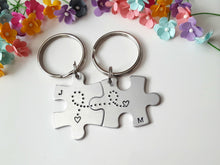 Load image into Gallery viewer, Initial Puzzle Piece Keychain Set with Hearts Connected