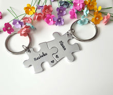 Load image into Gallery viewer, Personalized Name Puzzle Piece Keychains