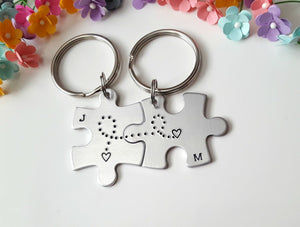 Initial Puzzle Piece Keychain Set with Hearts Connected