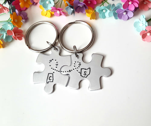 Long Distance Puzzle Piece Keychain Set