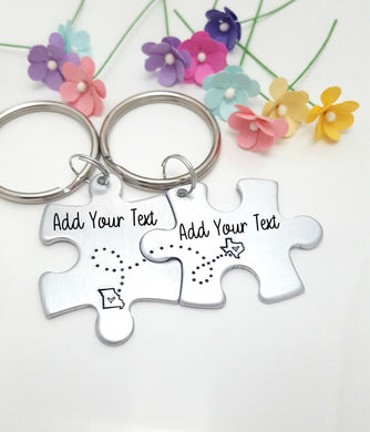 Personalized Puzzle Piece Keychain Set w/ States or Locations