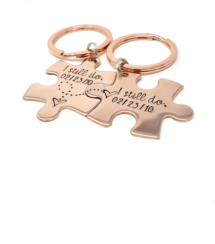 7 Year Anniversary Copper Puzzle Piece Keychain Set